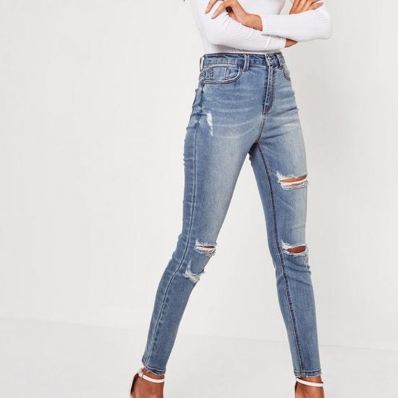 084b324f87679 Missguided Sinner Skinny Jeans in Blue